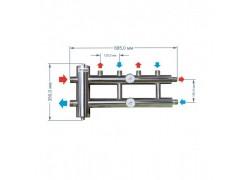 Распределительный коллектор с гидрострелкой 85 кВт, 2+1 контур