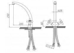 Смеситель для кухни двухвентильный Bonn, Bo225004
